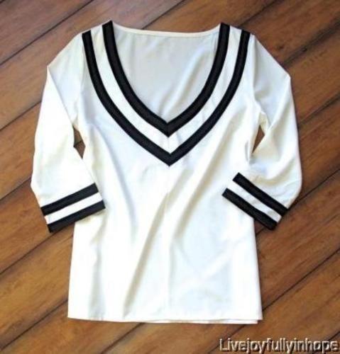 Korean Fashion  New! Size S  White & Black Striped Lightweight V-Neck Blouse   eBay