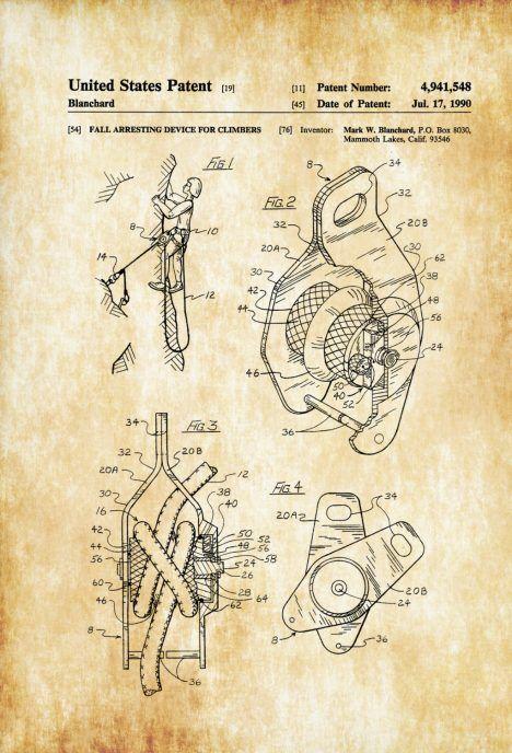 Rock Climbing Silent Partner Solo Belay Patent - Patent Print, Wall ...