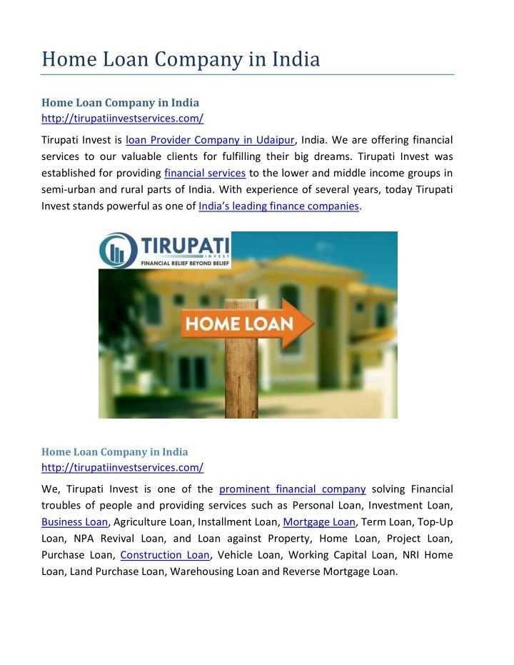 Home Loan Company In India Home Loan Company In India Loan