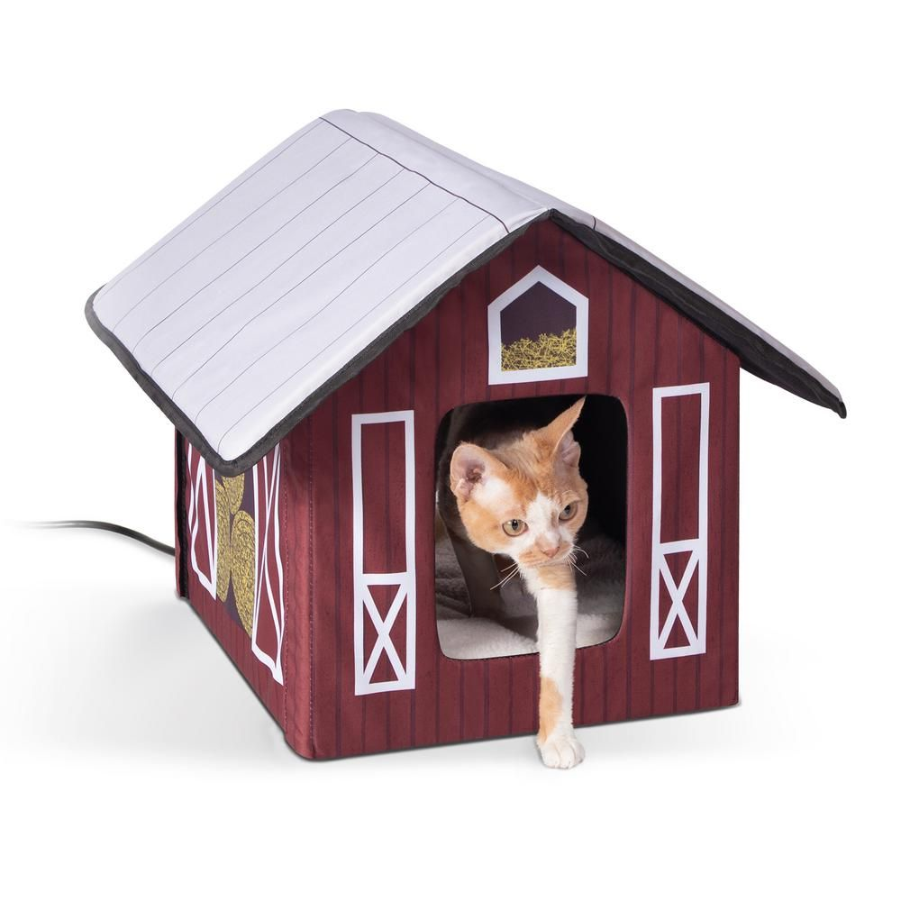 K And H Pet Products 18 In X 22 In X 17 In Outdoor Heated Kitty House Barn Style 100540539 The Home Depot In 2021 Outdoor Cat House Heated Outdoor Cat House Cat House