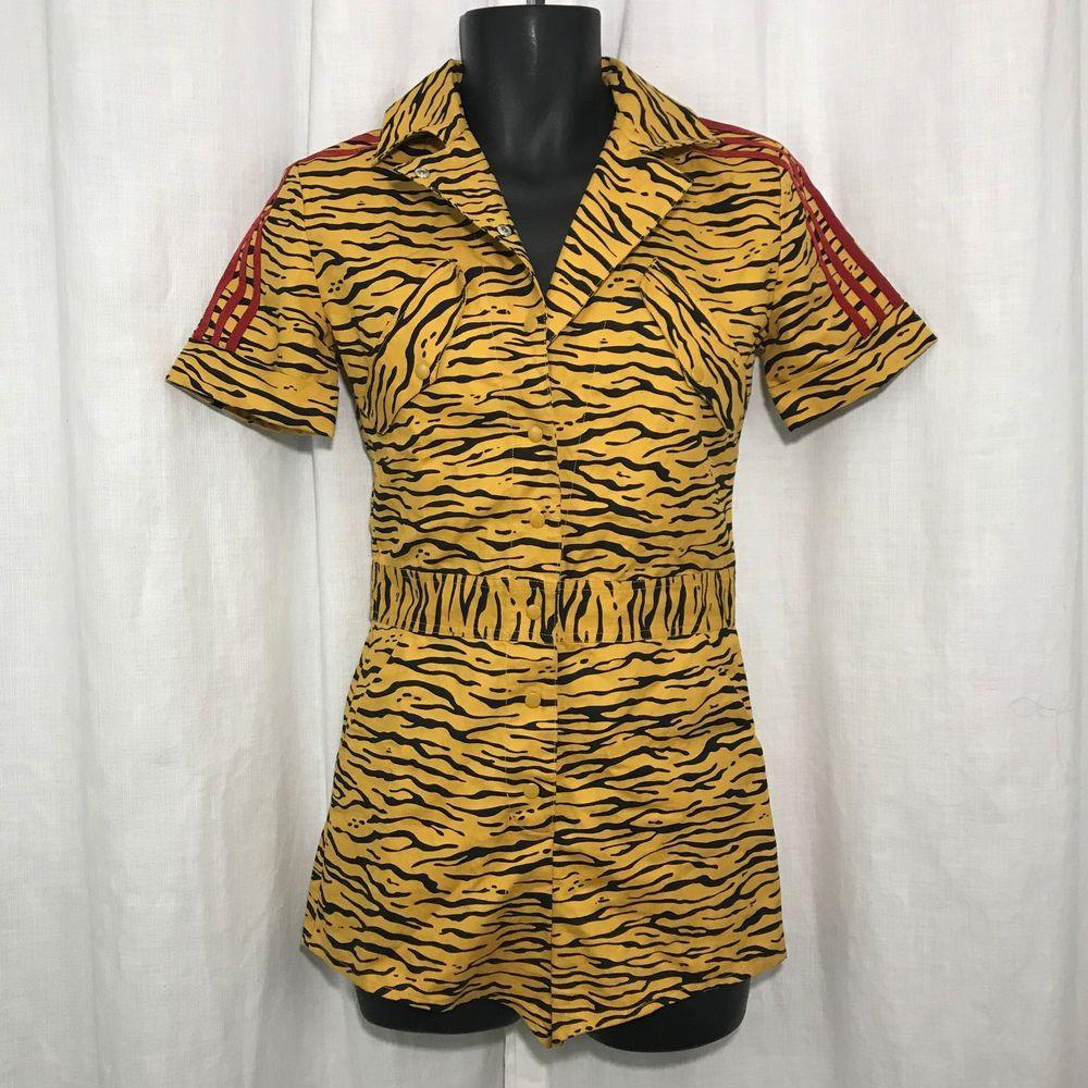 edb848eb9d133 NWOT Adidas Originals Jeremy Scott ObyO Sz S Animal Print Jumpsuit Romper