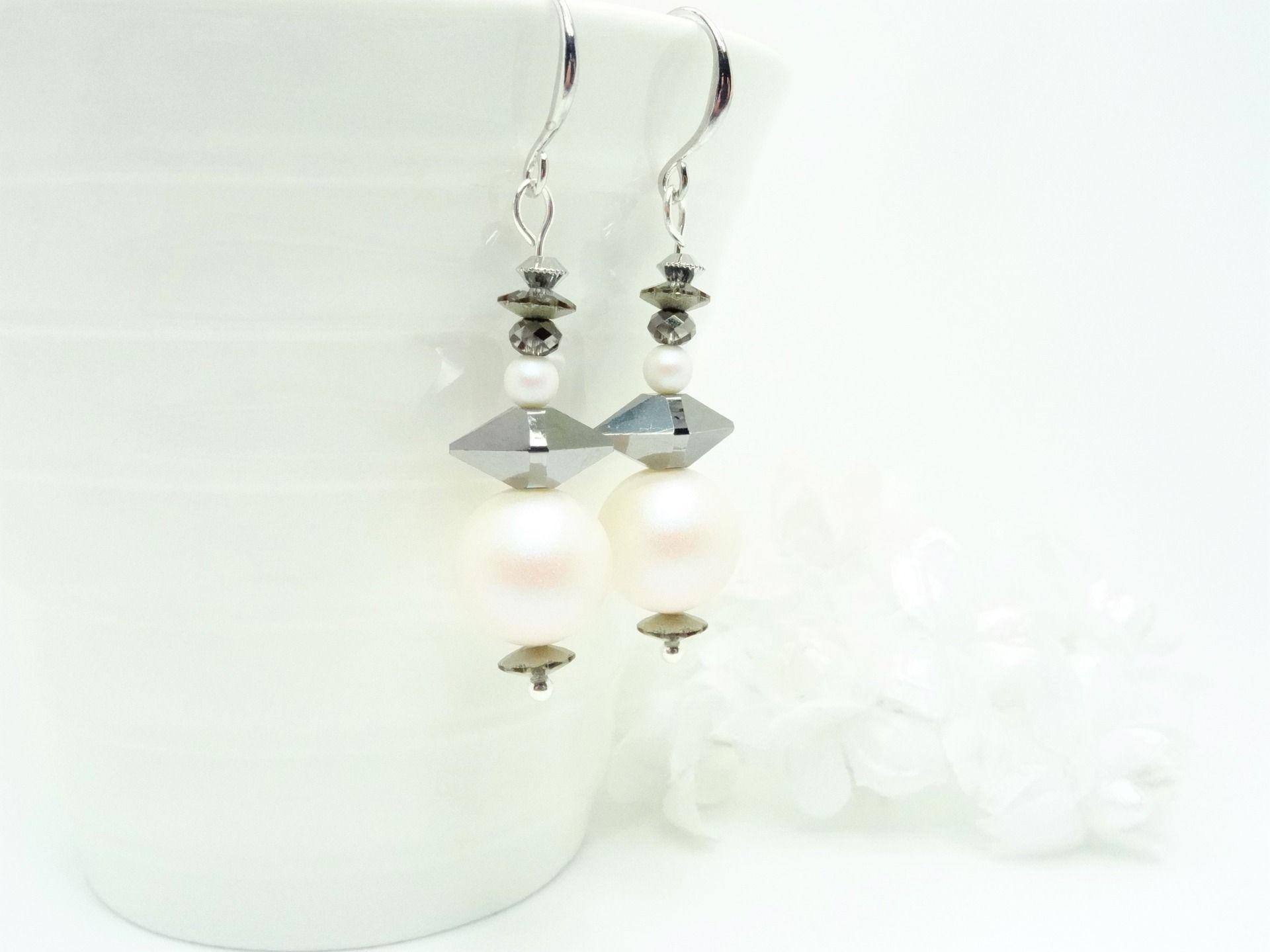 Boucle d'oreille double perle swarovski