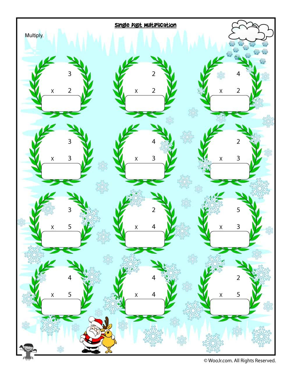 Single Digit Christmas Multiplication Worksheet | Multiplication ...