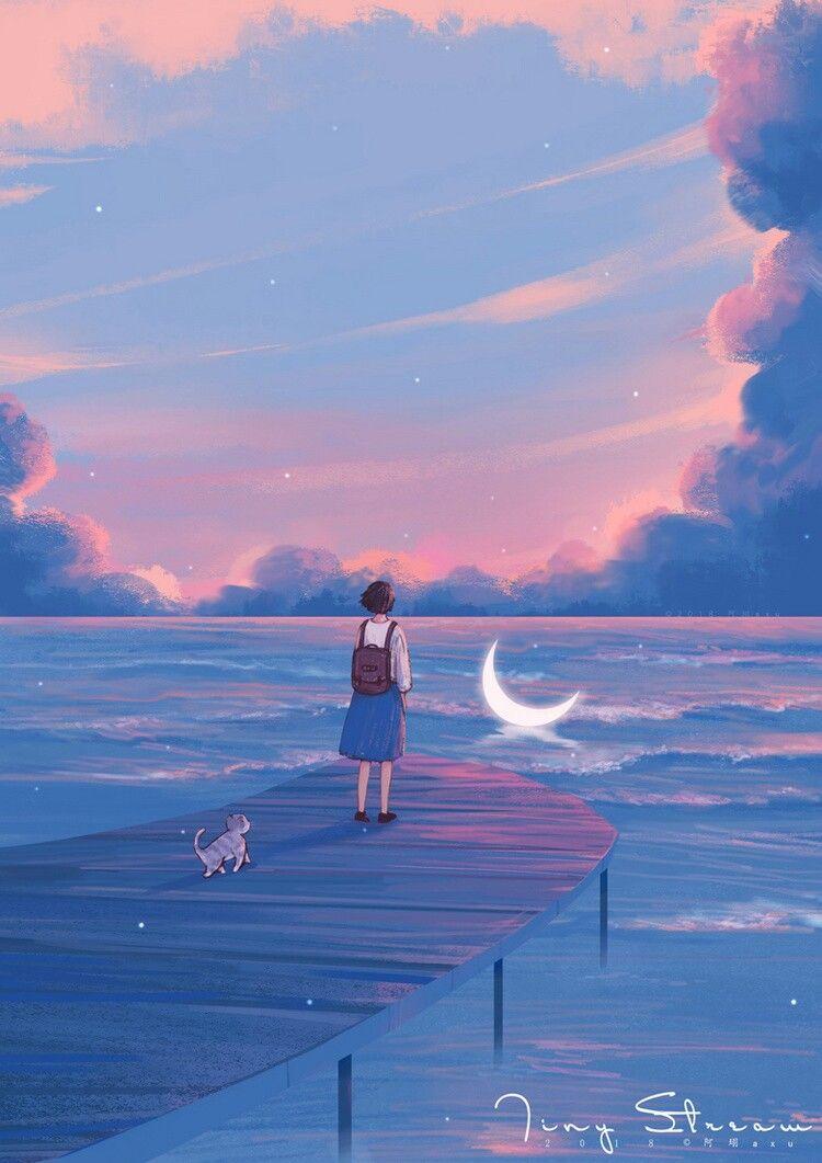 Pin Oleh Charlotte Leates Di 阿珝axu Art Lukisan Cat Air Pemandangan Anime Pemandangan Khayalan