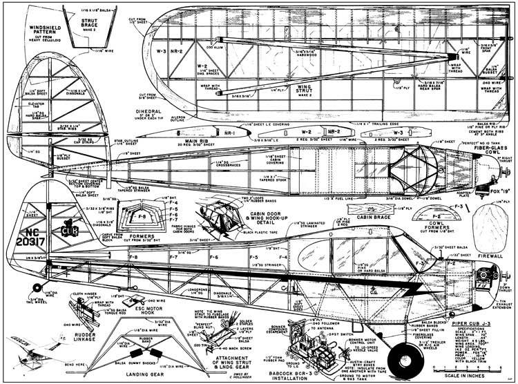 Piper Cub 70in - Plans - Model Airplane Plan | durafly