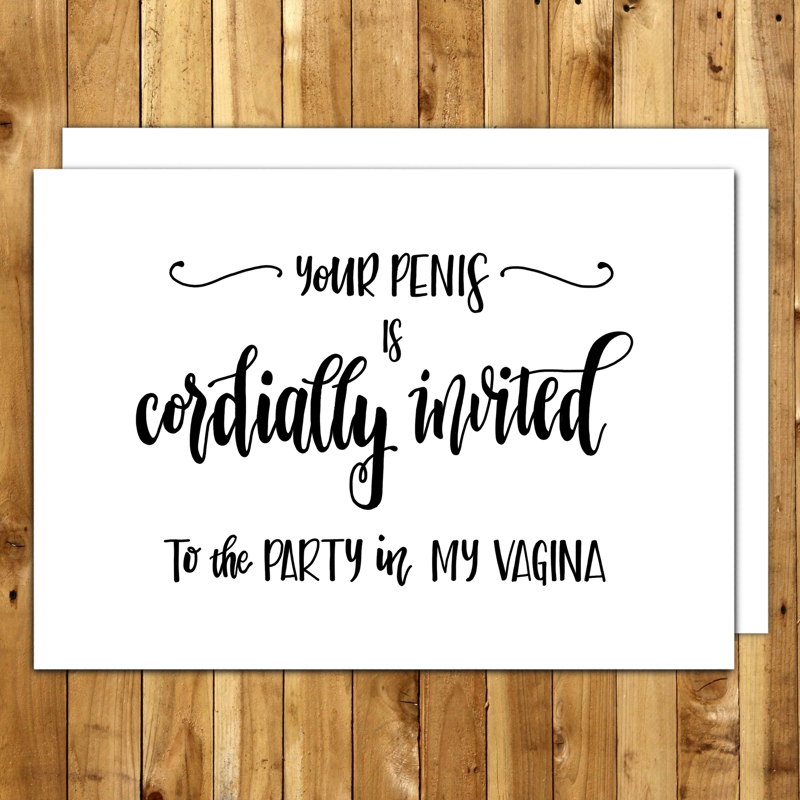 Naughty Birthday Card For Boyfriend Him Husband Dirty Cards Your Penis Is Cordially Invited Greeting