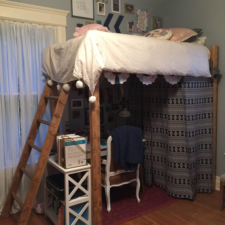 College loft bed fabric enclosed closet DIY College