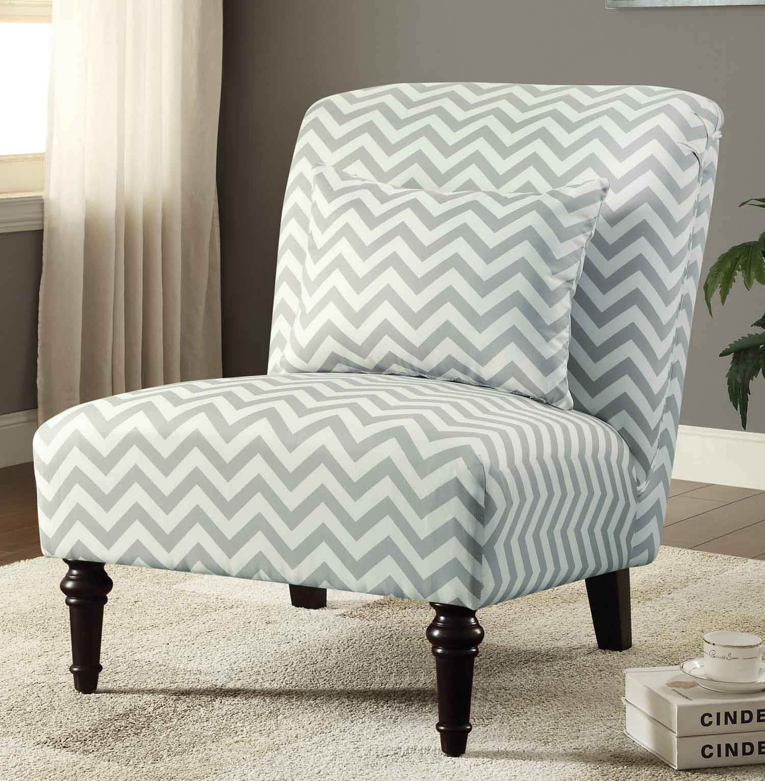 Accent Chair White Grey Chevron These beautiful accent