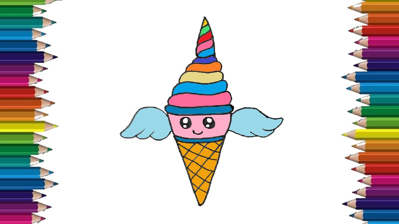 How to draw a UNICORNIO ice cream cute and easy - Ice ...