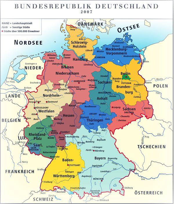 bundesländer auf der karte Deutschland's Karte mit Bundesländer und große Städte | Landkarte