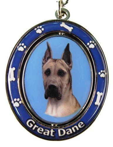 Great Dane Key Chain Spinning Pet Key Chainsdouble Sided Spinning