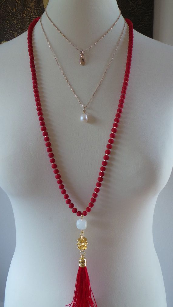 6ec1d97b267a Long beaded tassel necklace. Red beaded tassel necklace. Long beaded ...