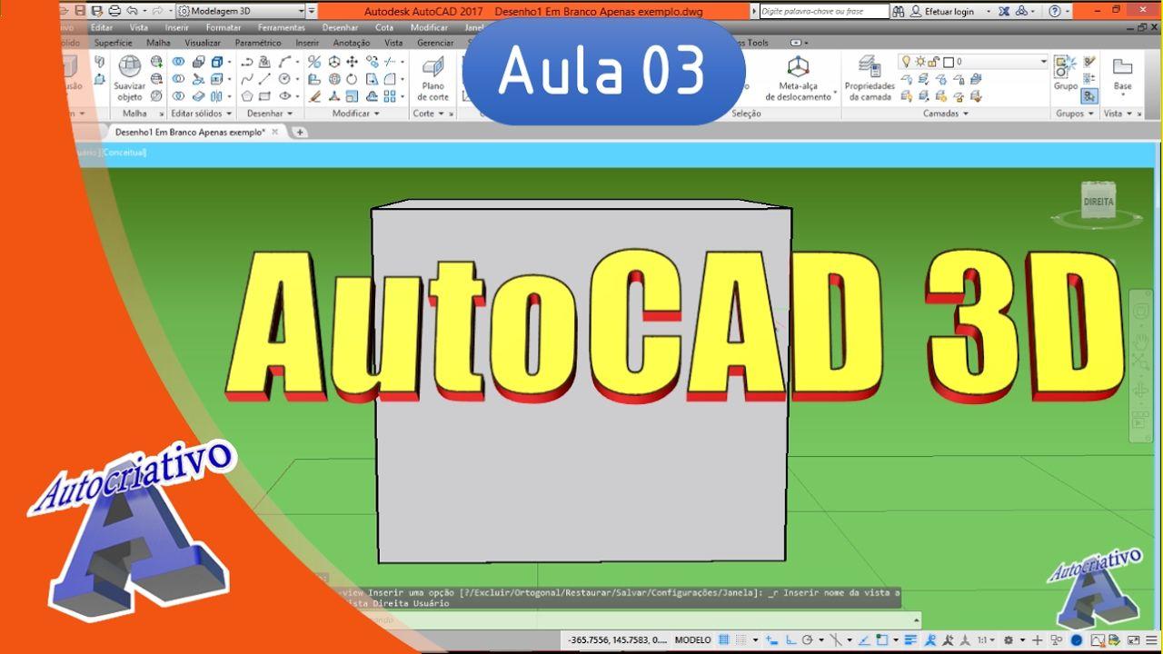 Curso de AutoCAD 3D - Aula 03 - Coordenadas, Planos e Eixos - Autocriativo