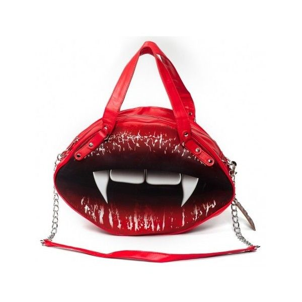 Shop: glamorous vampire kiss bag by Kreepsville 666 ($23) ❤ liked on Polyvore featuring bags, handbags, red bag, red handbags, lips pursed, man bag and lips bag