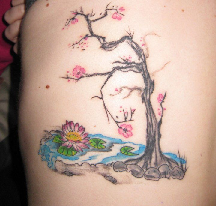My pink lotus blossoms over a pond by teika at bushido in for Koi pond tattoo