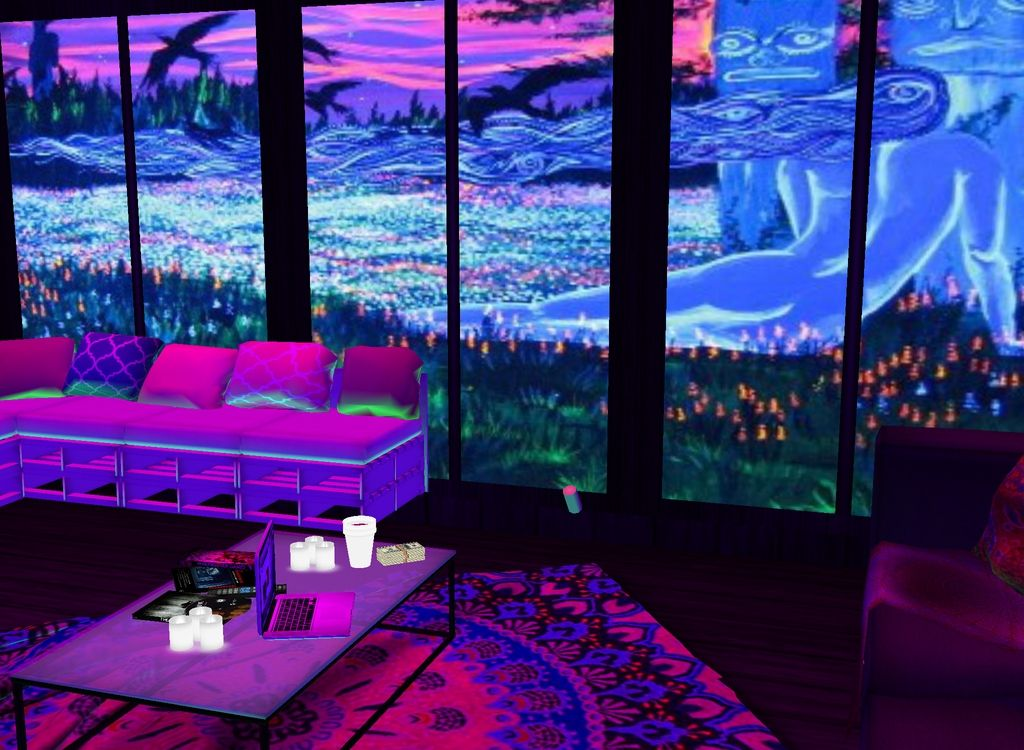 Blacklight room on imvu its called tumblr blacklight or for Chill bedroom ideas