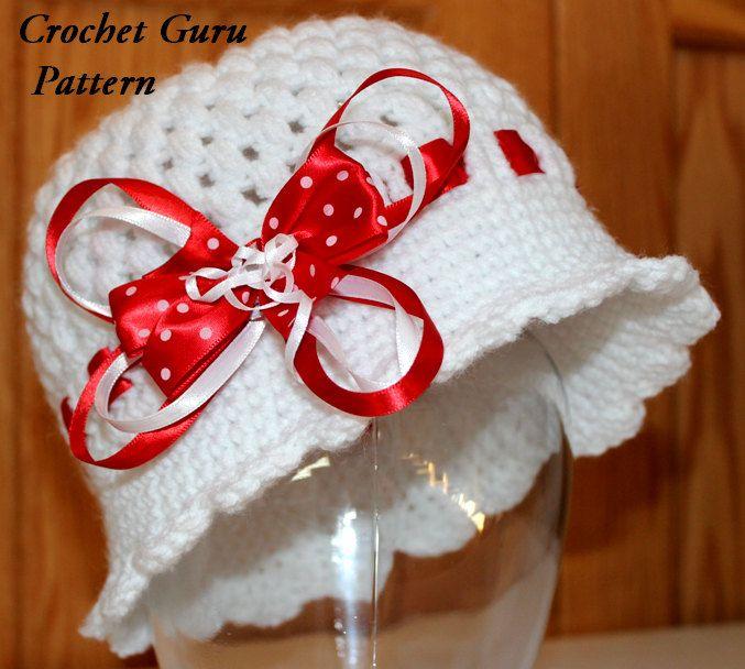 Crochet Hat Pattern Cloche Hat 5 Sizes Baby by CrochetGuruShop ...