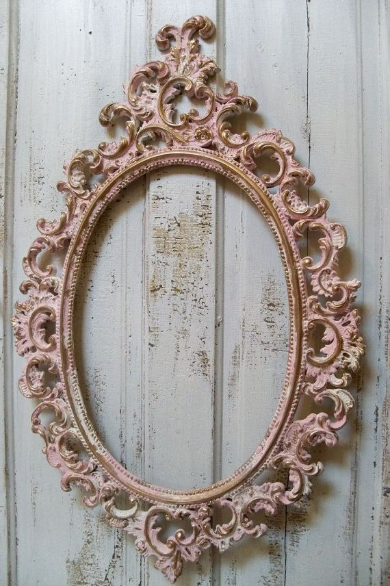 Pink ornate large frame accented white gold vintage shabby chic oval ...