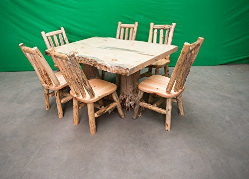 Midwest Log Furniture Rustic Pine Log Dining Table W 6 Chairs