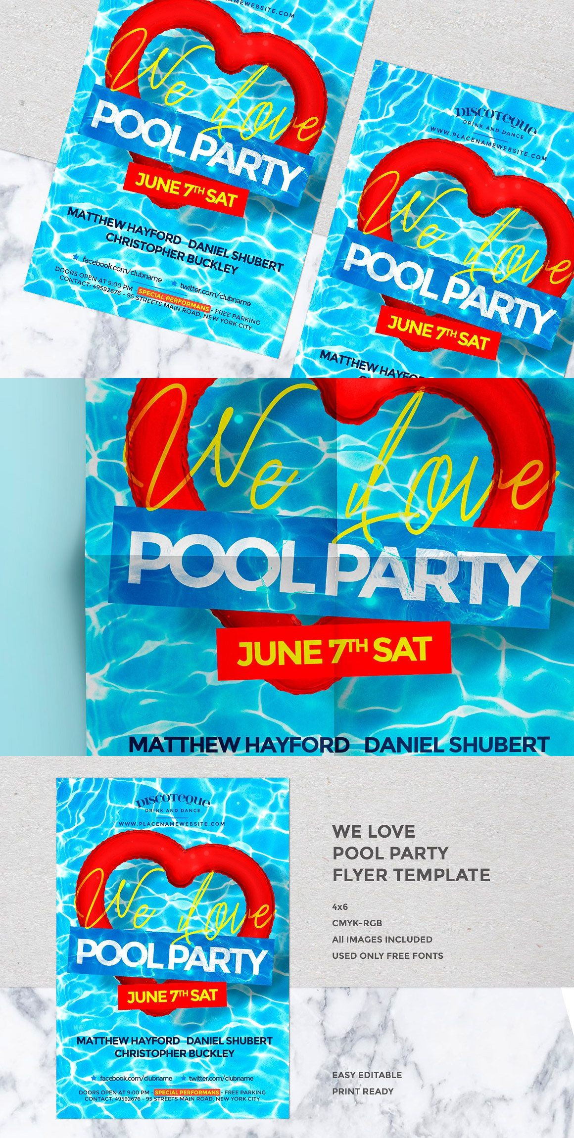 Summer Pool Party Template Psd  Flyer Templates