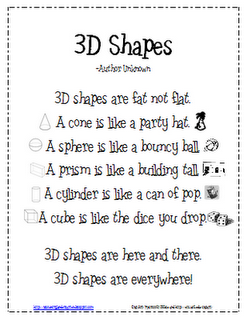 3D shapes poem, going to print and share with my K and 2nd grade ...