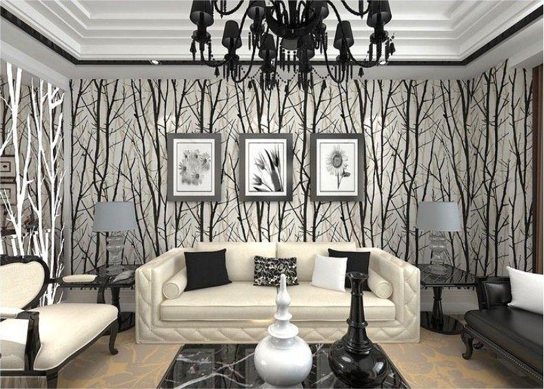 Contemporary Wallpaper Living Room | Living Room Decor Ideas | Pinterest |  Living Rooms, Wallpaper And Tree Wallpaper