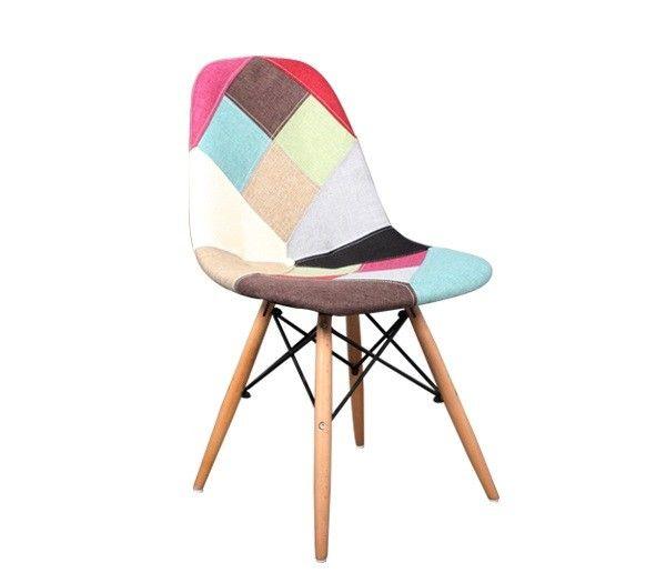 Καρέκλα Retro Patchwork με ξύλινα πόδια