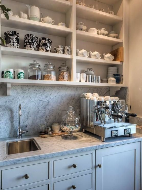 Kitchen coffee station, big enough to hold my old-school burr grinder, the