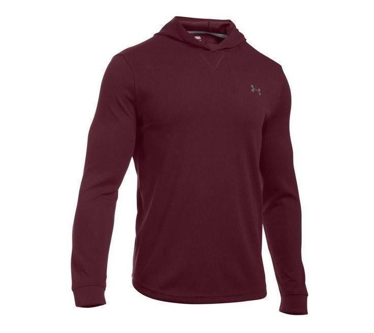 137fe3a9f1 Under Armour Mens UA Waffle Hoodie Long Sleeve Dark Maroon Shirt 2XL ...