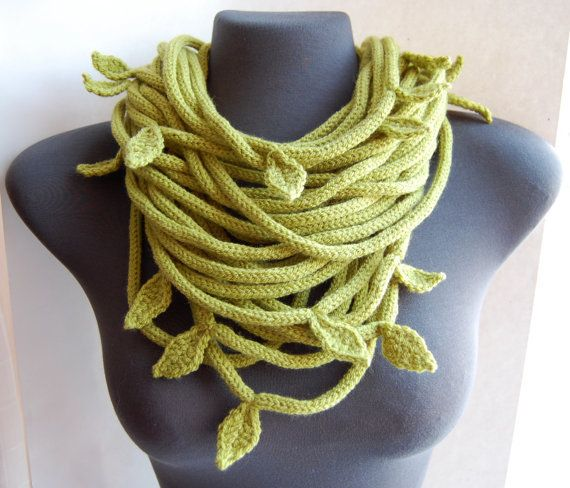 Crochet Inspiration Knitted Tube Leaf Scarf Collier