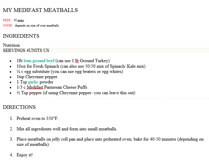 My Medifast Meatballs - simple and great!  **Follow your Lean & Green list**