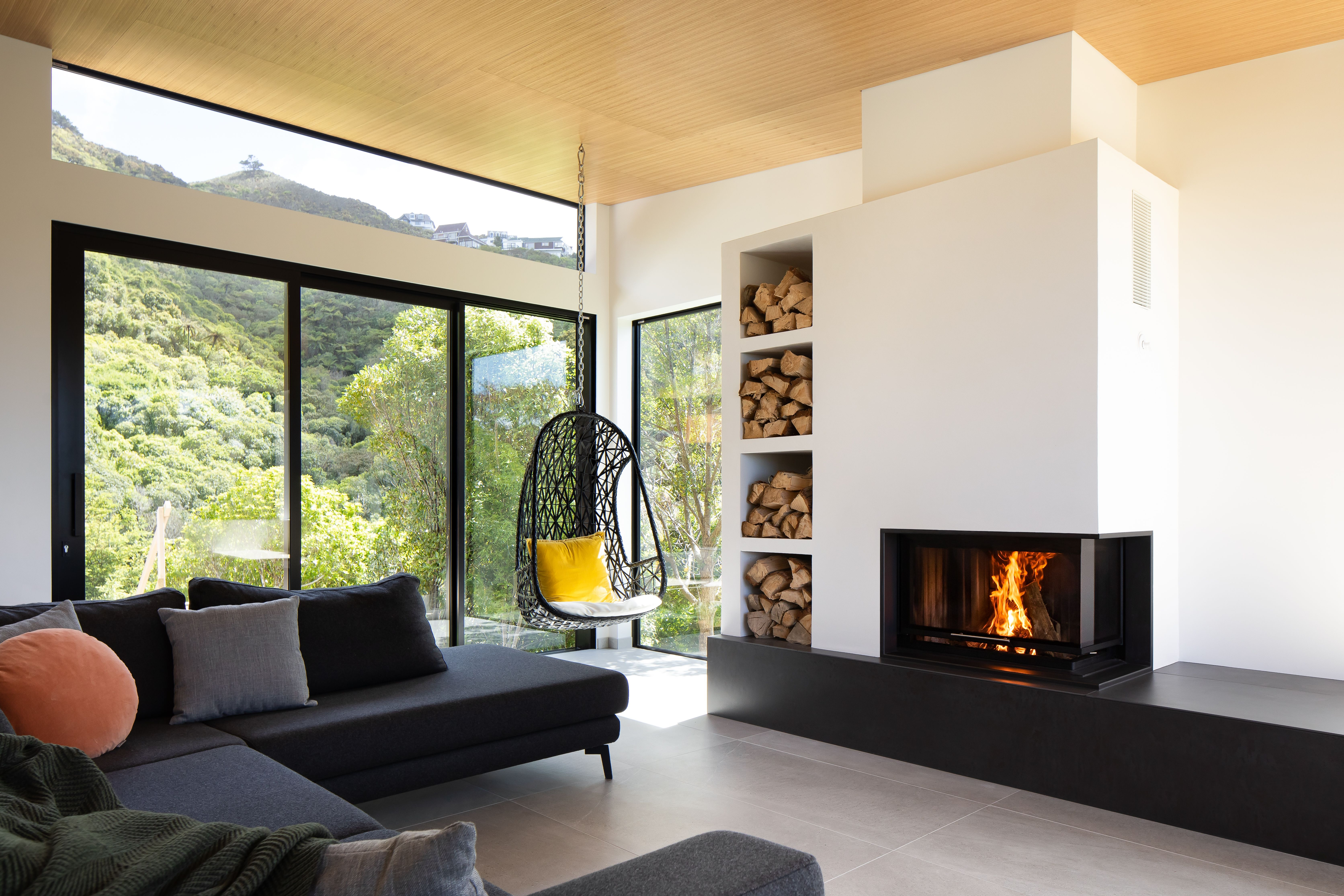 Luxury Woodfire Installed By The Wellington Fireplace Ltd Spartherm New Zealand In 2020 Double Sided Fireplace Modern Design Home Decor