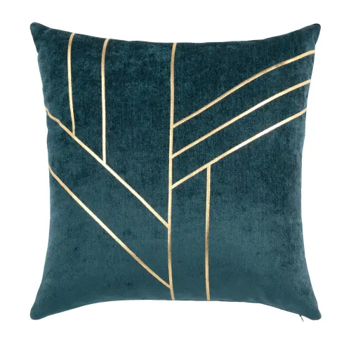 Housse De Coussin En Velours Bleu Canard Et Doree 40x40 Maisons Du Monde In 2020 Teal And Gold Grey And Gold Bedroom Gold Cushion Covers