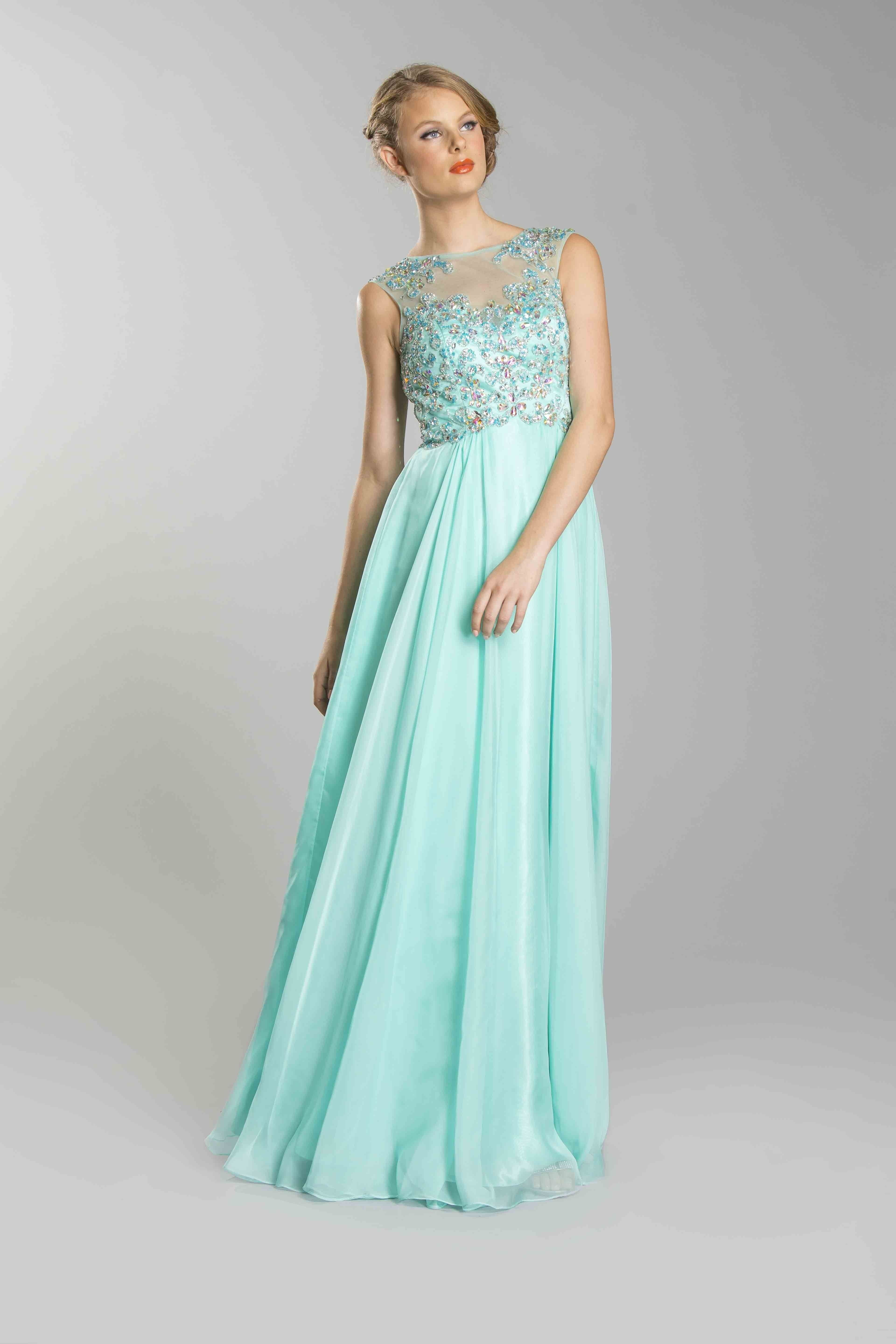 COYL1273MT MINT Beaded Strapped Boat Neck Long Sexy Prom Dresses ...