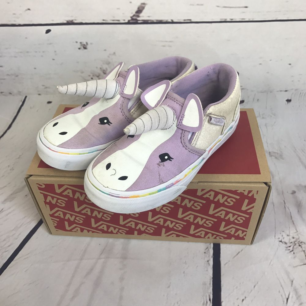 ff08cfb636b Toddler Girls VANS ASHER V UNICORN Slip On Shoes Limited Edition Size 10.5