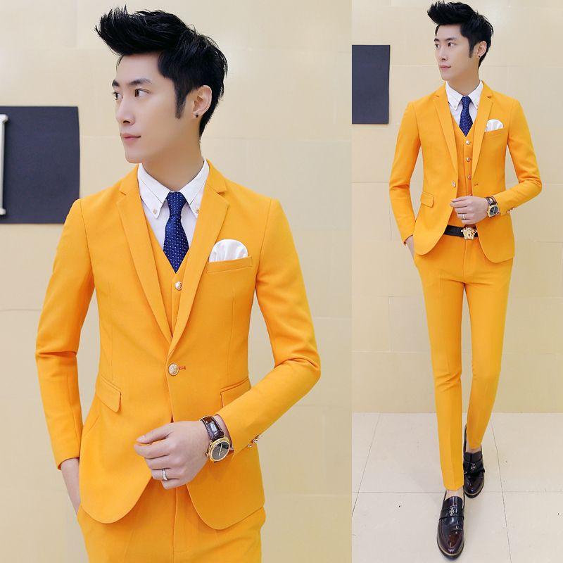 2017-Custom-Made-font-b-Orange-b-font-Groom-Tuxedos-3-Piece-Slim-Fit ...