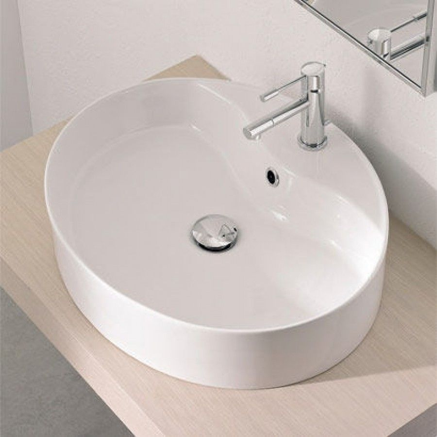 By Nameeks Wind Above Counter Single Hole Bathroom Sink In White