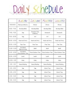Kids Daily Schedule  Organizational Stuff    Parents