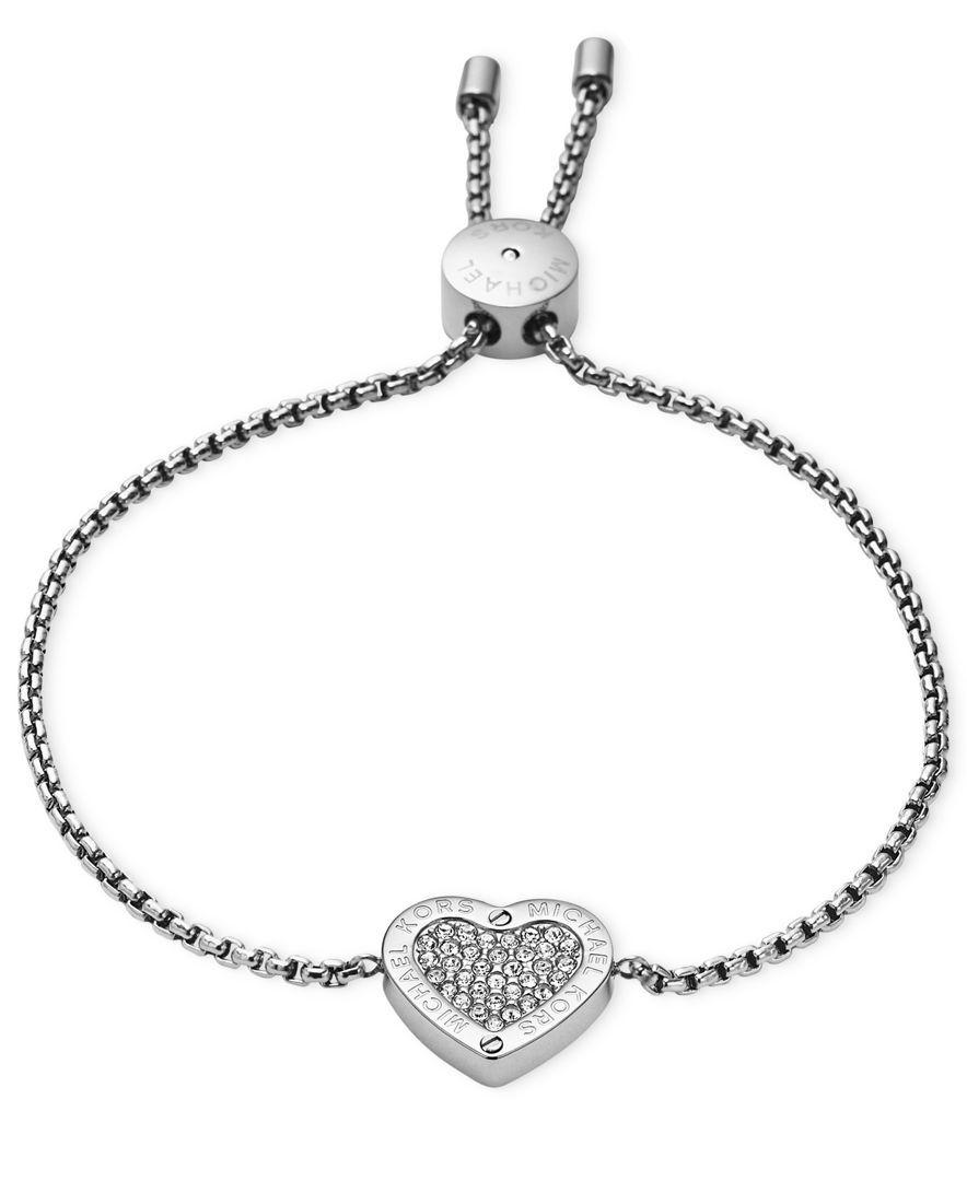 36ea1f93a1e28 Michael Kors Gold-Tone Crystal Heart Slider Bracelet