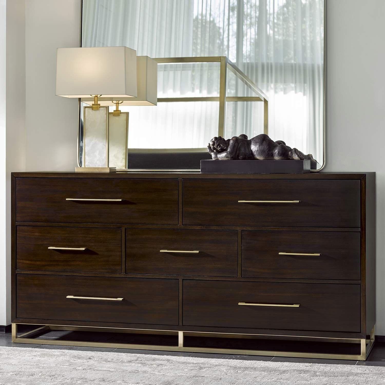Modern Bancroft Wood Seven Drawer Dresser In Mahogany Mirror