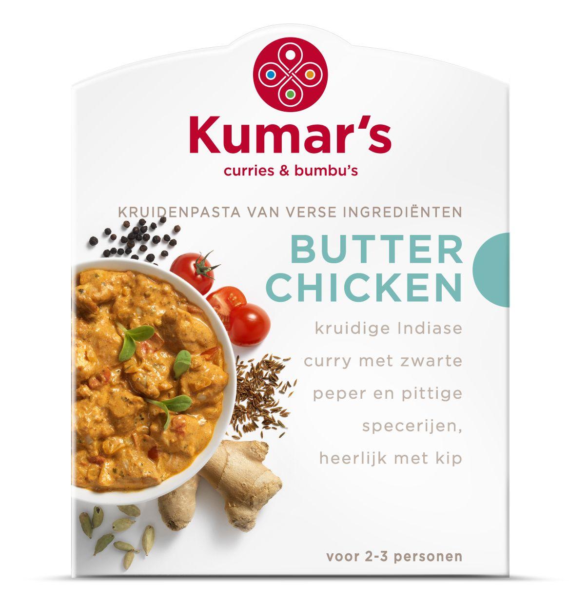 Butter Chicken: een romige Indiase curry met komijn, fenegriekblaadjes, pure ghee (geklaarde boter) en cashewnoten. Een heerlijke, zachte curry om te combineren met kip.