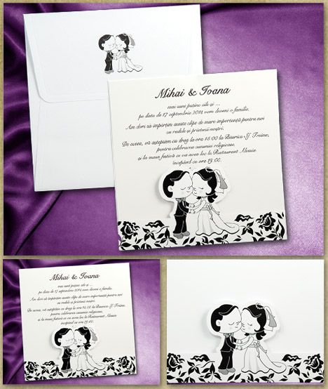 Invitatie nunta 01.40.016 realizata reprezentant in alb negru, grafic, mirii inconjurati de elemente grafice florale si vegetale stilizate