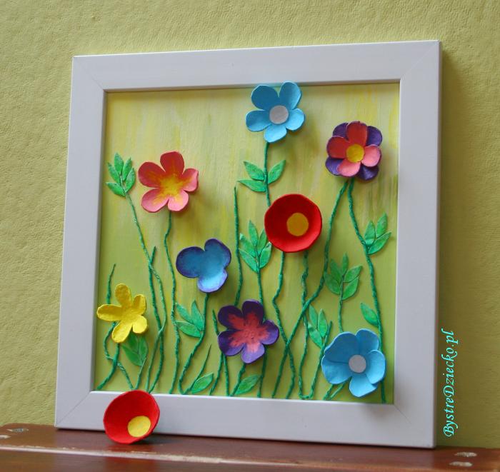 Wiosenny Obraz Z Wytlaczanek Do Jaj Spring Flower Crafts Egg Carton Crafts Flower Diy Crafts