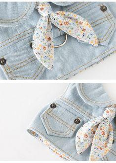 [EPEELS] Flower denim Vest dog harness / Light Blue
