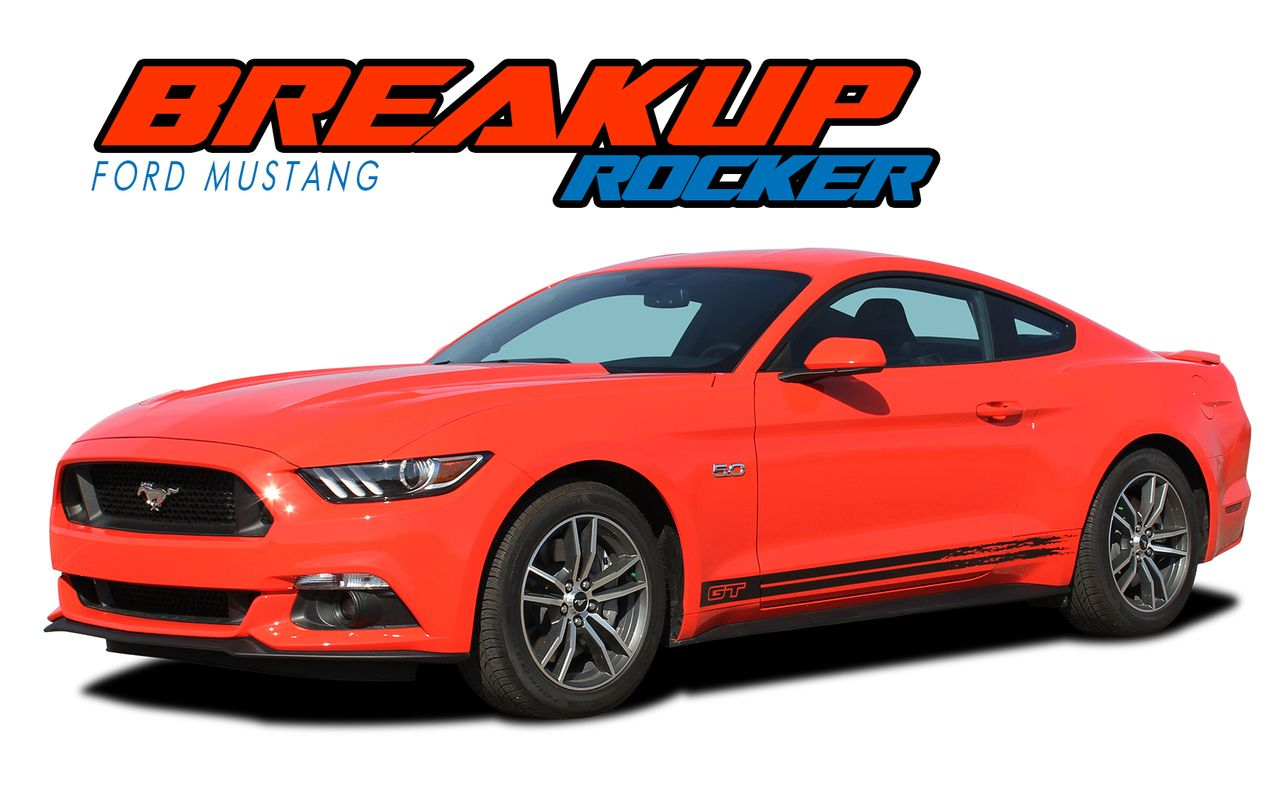 Breakup Rocker 2015 2017 Ford Mustang Rocker Panel Stripes Vinyl Graphic Decals Kit Ford Mustang 2017 Ford Mustang Mustang