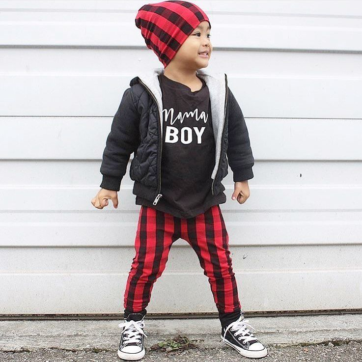 Baby boy winter clothing, buffalo plaid for boys, gender ...