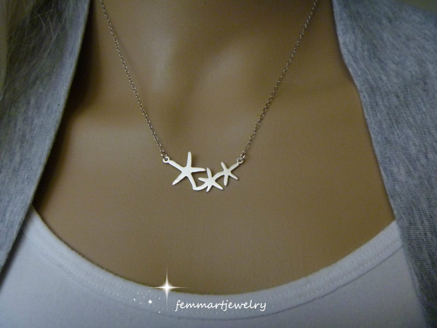 Starfish Necklace Bridesmaid Gift Jewelry Bridal Party Wedding