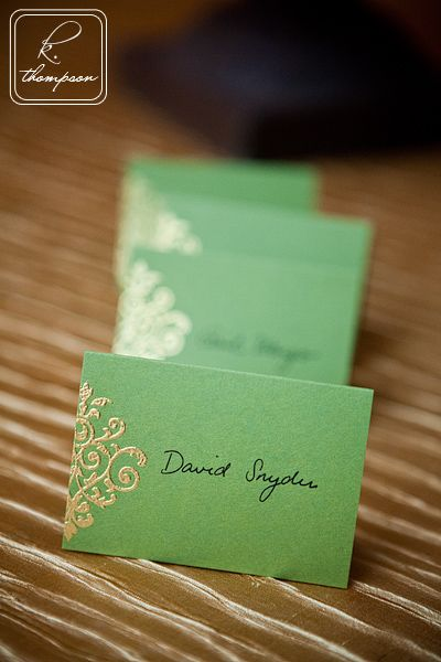 Green & gold wedding escort cards.  Flower girl head wreath.  Photo by K. Thompson Photography (http://www.kthompsonphotography.com/)