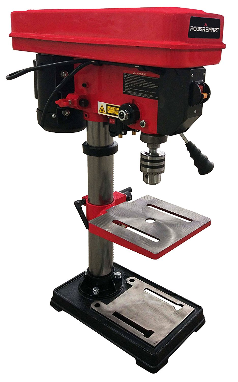 Powersmart Ps310 12 Speed Drill Press With Laser Guide 10 Red Black Speed Drills Drill Drill Press