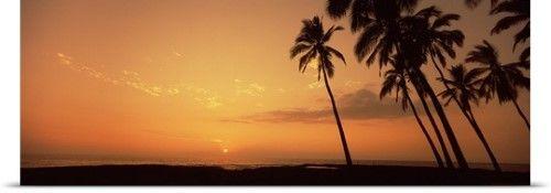 Poster Print Wall Art Print entitled Palm trees on the beach, Pu'u Honua O Honaunau, Hawaii, None